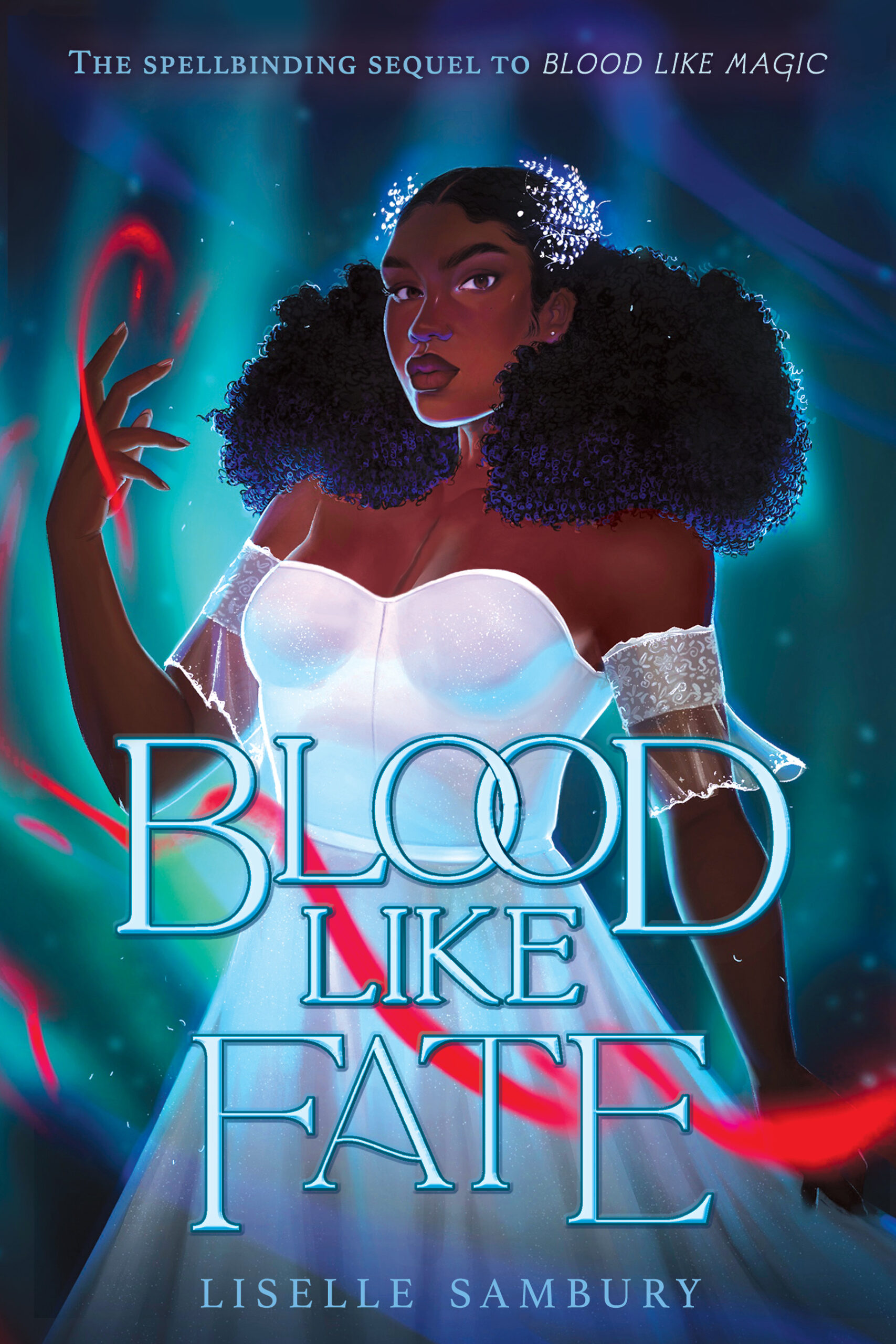 the cover of Blood Like Fate which is a Black girl in a white dress, with thick naturally curly hair in a half up style with white hair pins, and a small scar on her chest